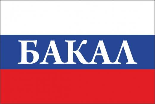 Флаг России с названием города Бакал