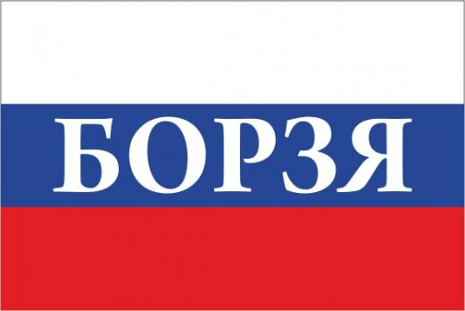 Флаг России с названием города Борзя