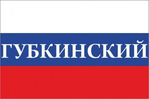 Флаг России с названием города Губкинский