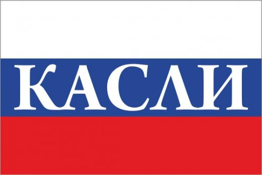 Флаг России с названием города Касли