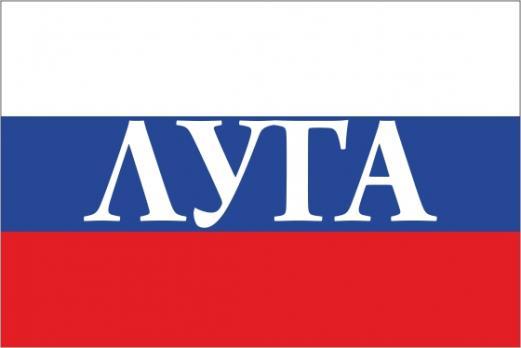 Флаг России с названием города Луга