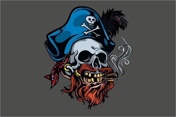 Пиратский флаг, череп в треуголке с сигарой