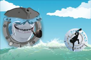 Флаг Акула и водолаз