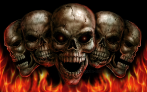 Флаг черепа в огне