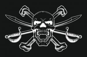 Пиратский флаг с саблями и костями
