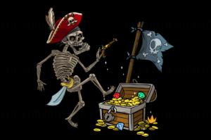 Флаг двусторонний танцующий пират, блэкаут
