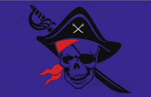 Флаг двусторонний Пиратский треуголка, сабля, блэкаут