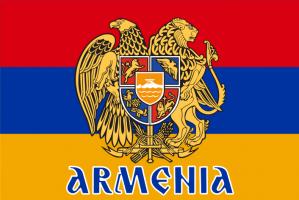 Флаг Армении с гербом и надписью двусторонний
