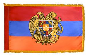 Флаг Армении с гербом и бахромой