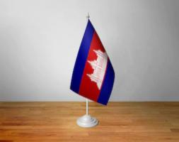 Флажок Камбоджи настольный на подставке